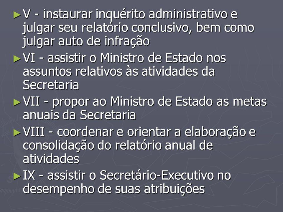 ► V - instaurar inquérito administrativo e julgar seu relatório conclusivo, bem como julgar auto de infração ► VI - assistir o Ministro de Estado nos