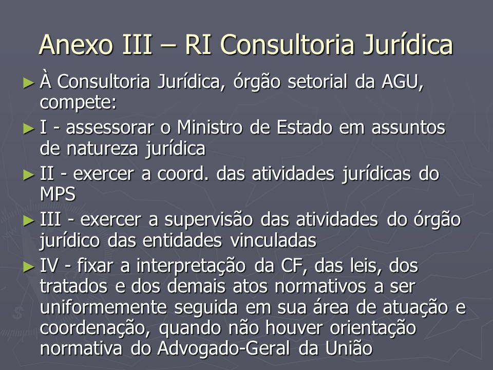 Anexo III – RI Consultoria Jurídica ► À Consultoria Jurídica, órgão setorial da AGU, compete: ► I - assessorar o Ministro de Estado em assuntos de nat