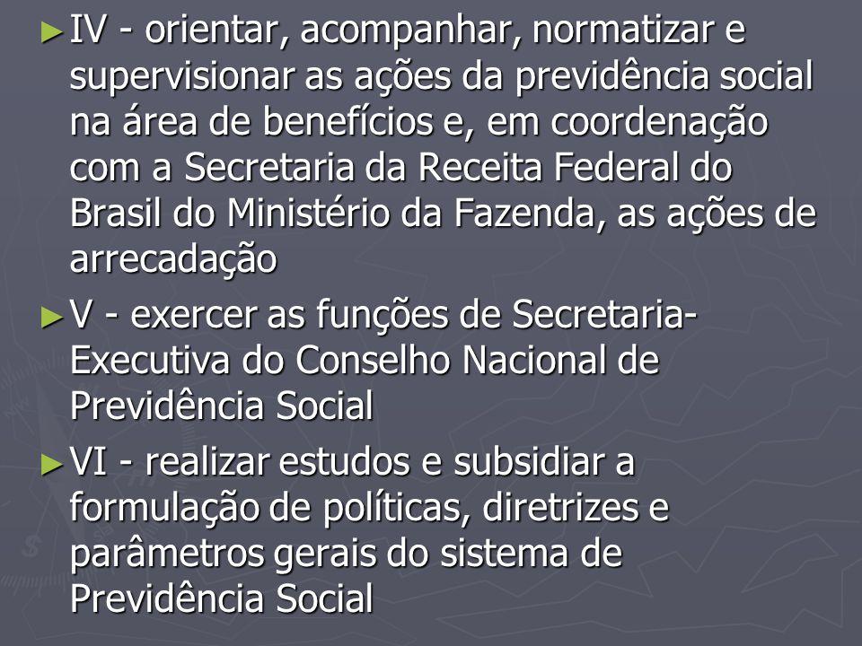 ► IV - orientar, acompanhar, normatizar e supervisionar as ações da previdência social na área de benefícios e, em coordenação com a Secretaria da Rec