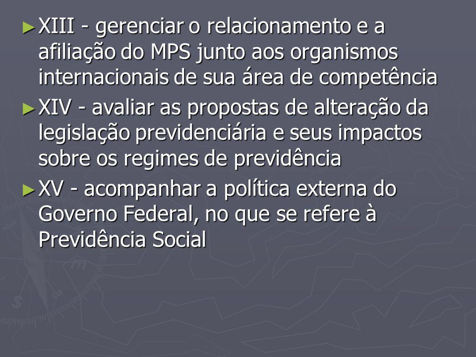 ► XIII - gerenciar o relacionamento e a afiliação do MPS junto aos organismos internacionais de sua área de competência ► XIV - avaliar as propostas d