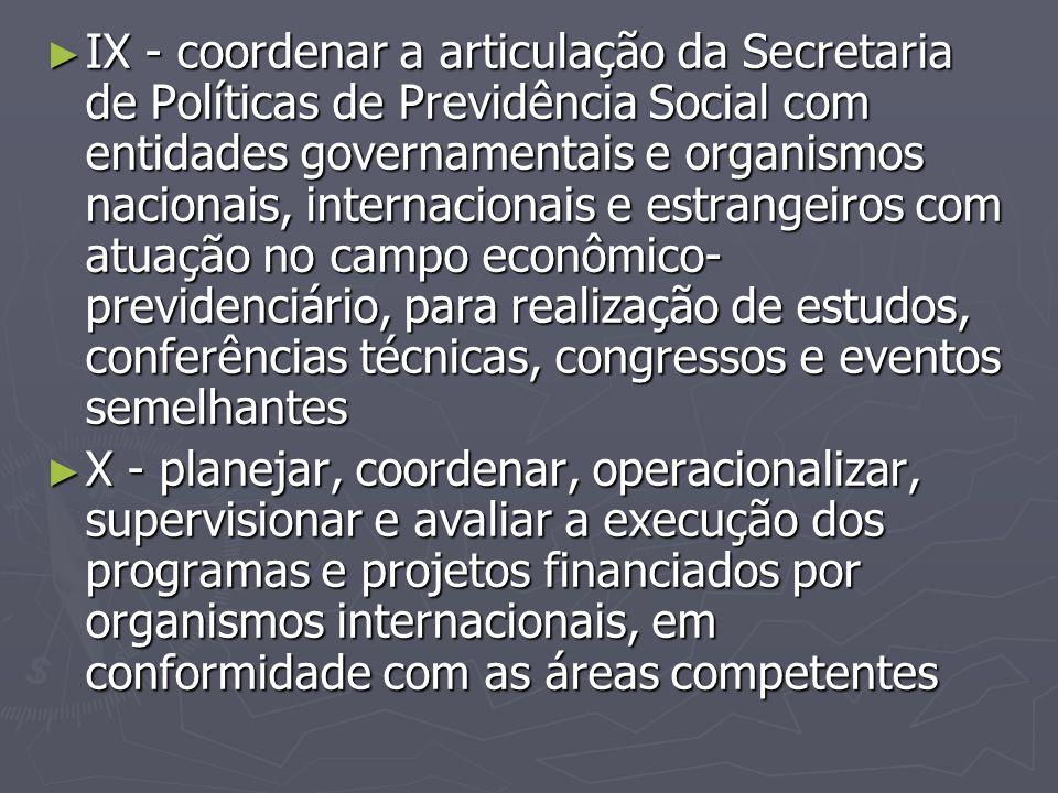 ► IX - coordenar a articulação da Secretaria de Políticas de Previdência Social com entidades governamentais e organismos nacionais, internacionais e