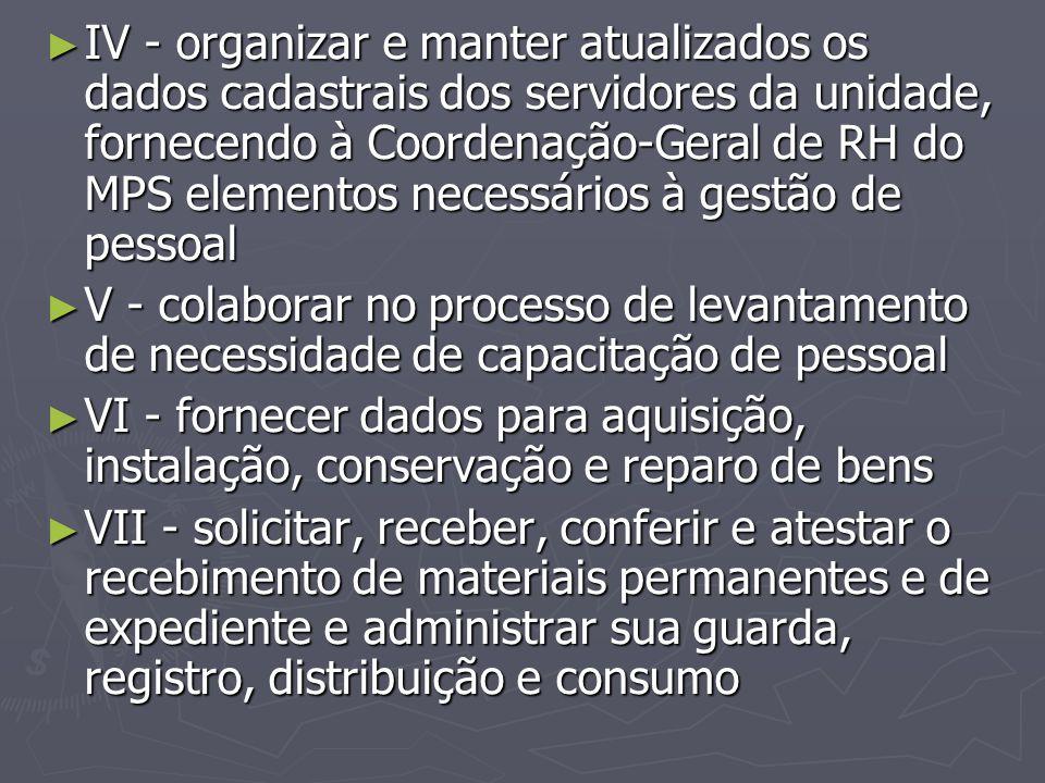 ► IV - organizar e manter atualizados os dados cadastrais dos servidores da unidade, fornecendo à Coordenação-Geral de RH do MPS elementos necessários