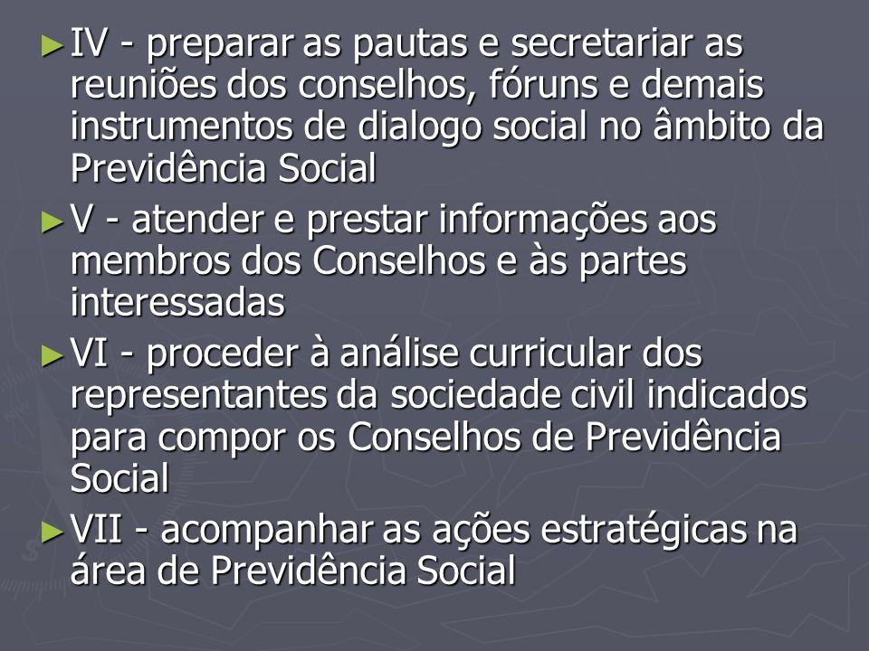 ► IV - preparar as pautas e secretariar as reuniões dos conselhos, fóruns e demais instrumentos de dialogo social no âmbito da Previdência Social ► V
