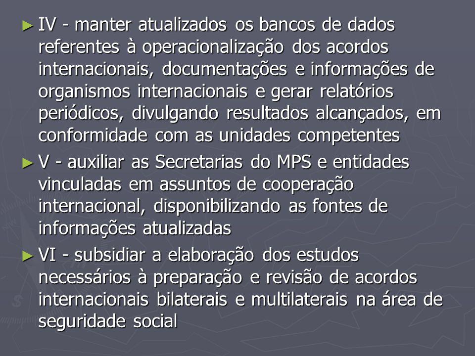 ► IV - manter atualizados os bancos de dados referentes à operacionalização dos acordos internacionais, documentações e informações de organismos inte