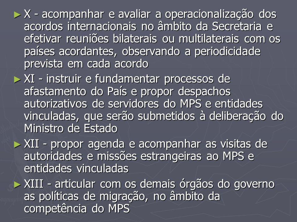 ► X - acompanhar e avaliar a operacionalização dos acordos internacionais no âmbito da Secretaria e efetivar reuniões bilaterais ou multilaterais com