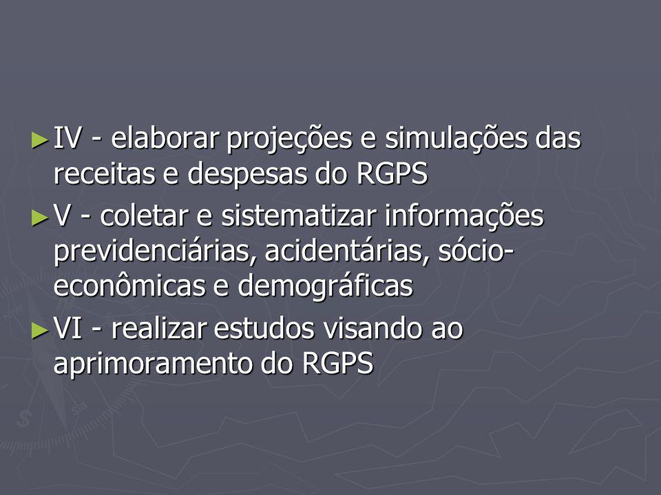 ► IV - elaborar projeções e simulações das receitas e despesas do RGPS ► V - coletar e sistematizar informações previdenciárias, acidentárias, sócio-