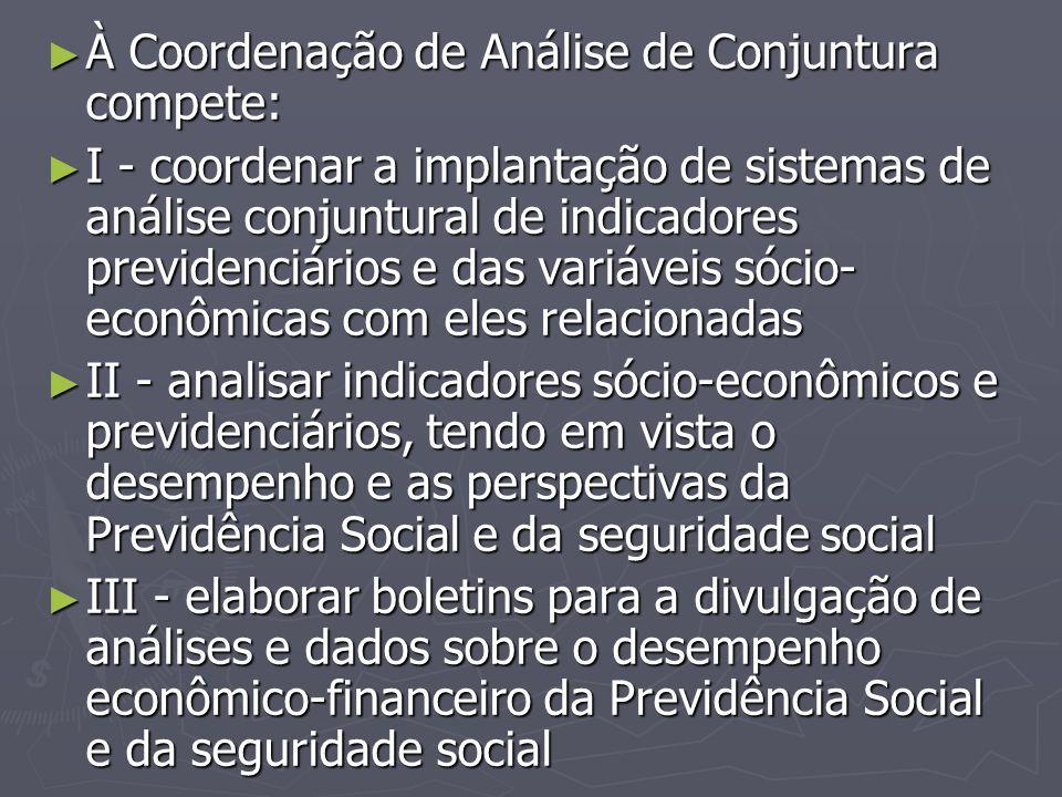 ► À Coordenação de Análise de Conjuntura compete: ► I - coordenar a implantação de sistemas de análise conjuntural de indicadores previdenciários e da
