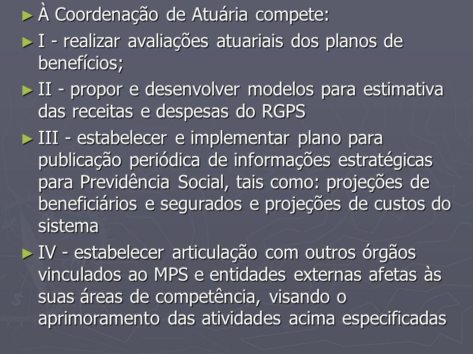 ► À Coordenação de Atuária compete: ► I - realizar avaliações atuariais dos planos de benefícios; ► II - propor e desenvolver modelos para estimativa