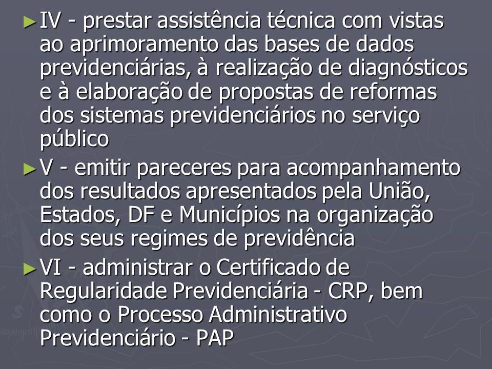 ► IV - prestar assistência técnica com vistas ao aprimoramento das bases de dados previdenciárias, à realização de diagnósticos e à elaboração de prop