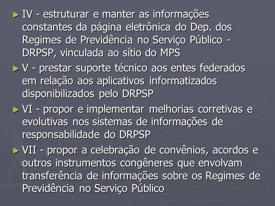 ► IV - estruturar e manter as informações constantes da página eletrônica do Dep. dos Regimes de Previdência no Serviço Público - DRPSP, vinculada ao