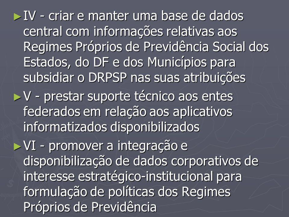 ► IV - criar e manter uma base de dados central com informações relativas aos Regimes Próprios de Previdência Social dos Estados, do DF e dos Municípi