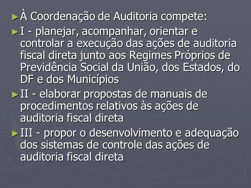 ► À Coordenação de Auditoria compete: ► I - planejar, acompanhar, orientar e controlar a execução das ações de auditoria fiscal direta junto aos Regim