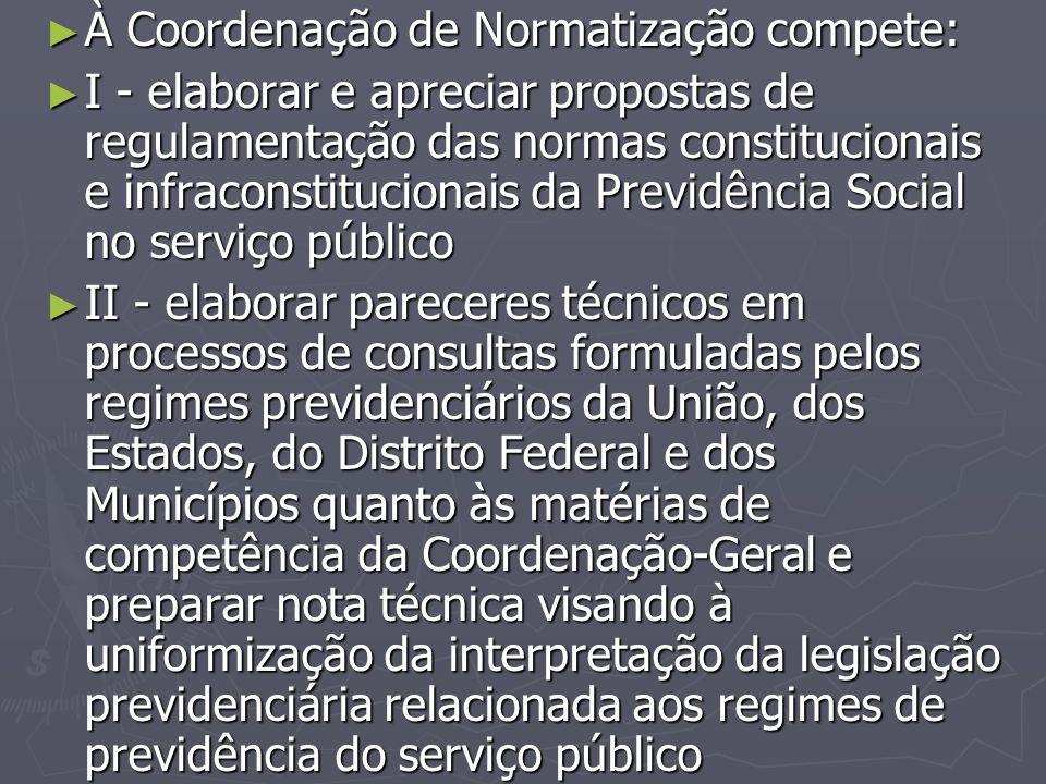 ► À Coordenação de Normatização compete: ► I - elaborar e apreciar propostas de regulamentação das normas constitucionais e infraconstitucionais da Pr