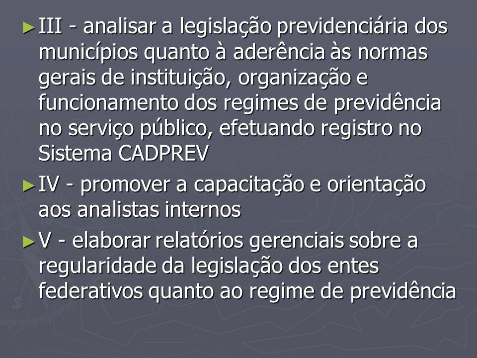 ► III - analisar a legislação previdenciária dos municípios quanto à aderência às normas gerais de instituição, organização e funcionamento dos regime