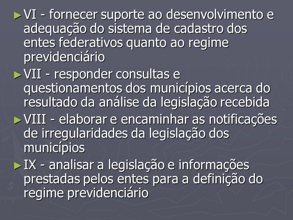 ► VI - fornecer suporte ao desenvolvimento e adequação do sistema de cadastro dos entes federativos quanto ao regime previdenciário ► VII - responder