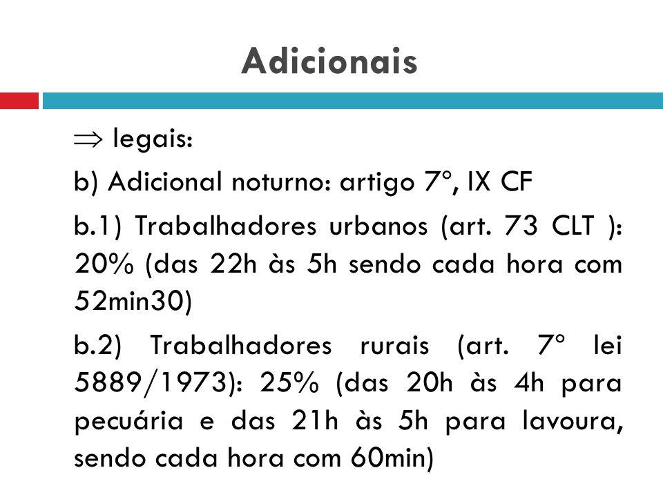 Adicionais  legais: a) Adicional de horas extras: art 59 CLT e 7º, XVI CF – é um valor acrescido ao valor da hora trabalhada além dos limites do cont