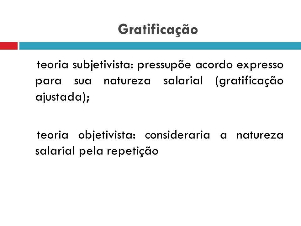 Gratificação gratificações  inicialmente surgiram como liberalidade  se ajustada torna-se uma forma de salário.