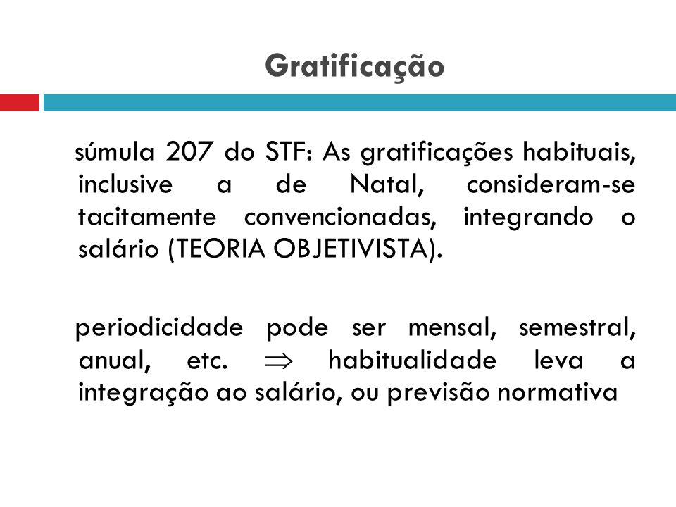 Gratificação teoria subjetivista: pressupõe acordo expresso para sua natureza salarial (gratificação ajustada); teoria objetivista: consideraria a nat