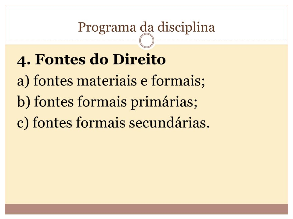 Programa da disciplina 4.