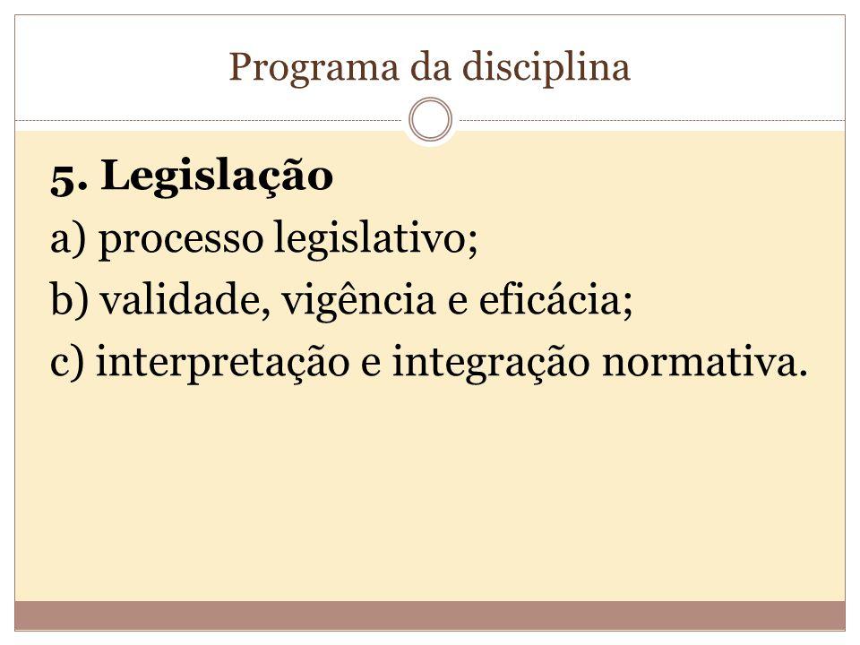 Programa da disciplina 5.