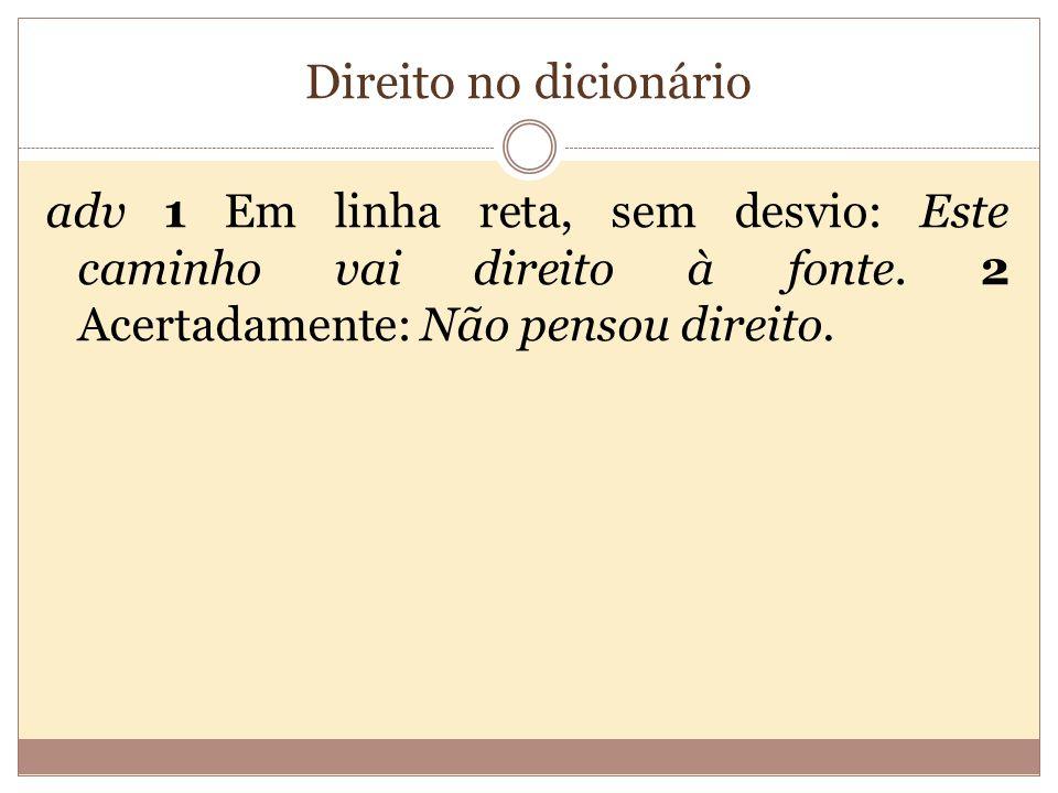 Direito no dicionário adv 1 Em linha reta, sem desvio: Este caminho vai direito à fonte.
