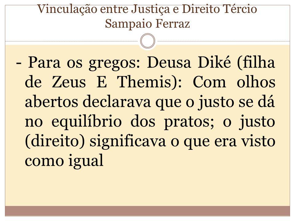 Vinculação entre Justiça e Direito Tércio Sampaio Ferraz - Para os gregos: Deusa Diké (filha de Zeus E Themis): Com olhos abertos declarava que o justo se dá no equilíbrio dos pratos; o justo (direito) significava o que era visto como igual