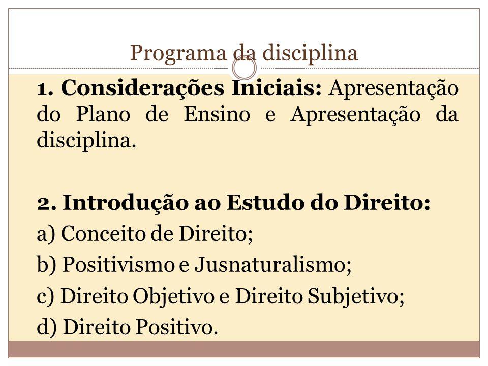 Programa da disciplina 1.