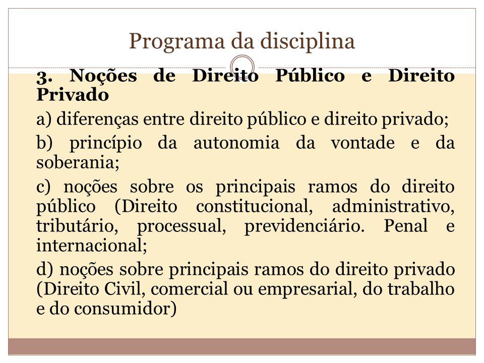 Programa da disciplina 3.