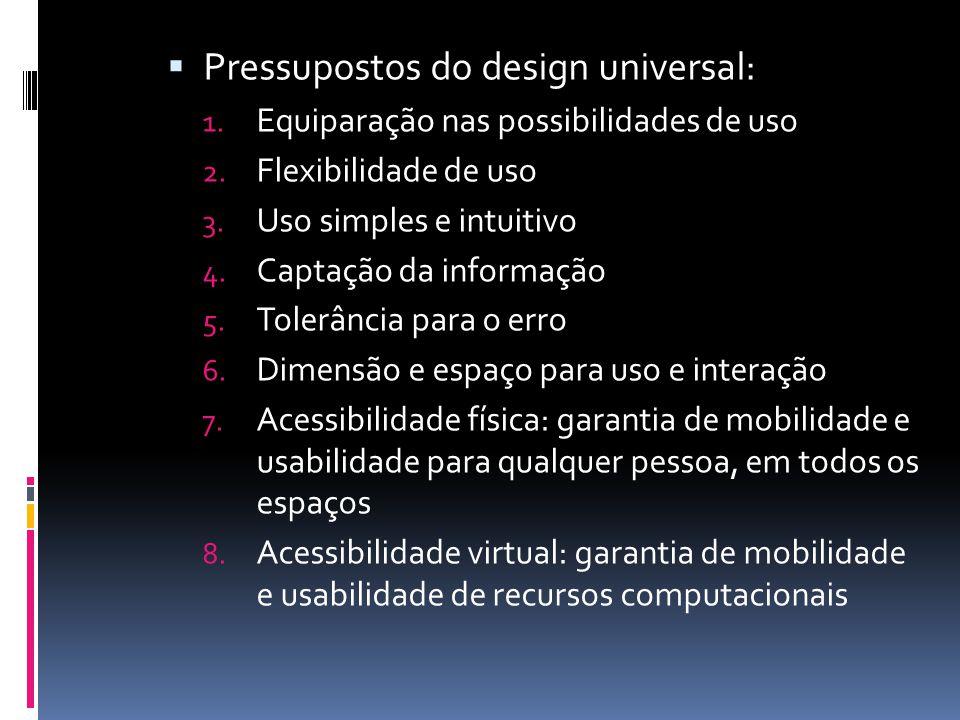  Pressupostos do design universal: 1. Equiparação nas possibilidades de uso 2. Flexibilidade de uso 3. Uso simples e intuitivo 4. Captação da informa