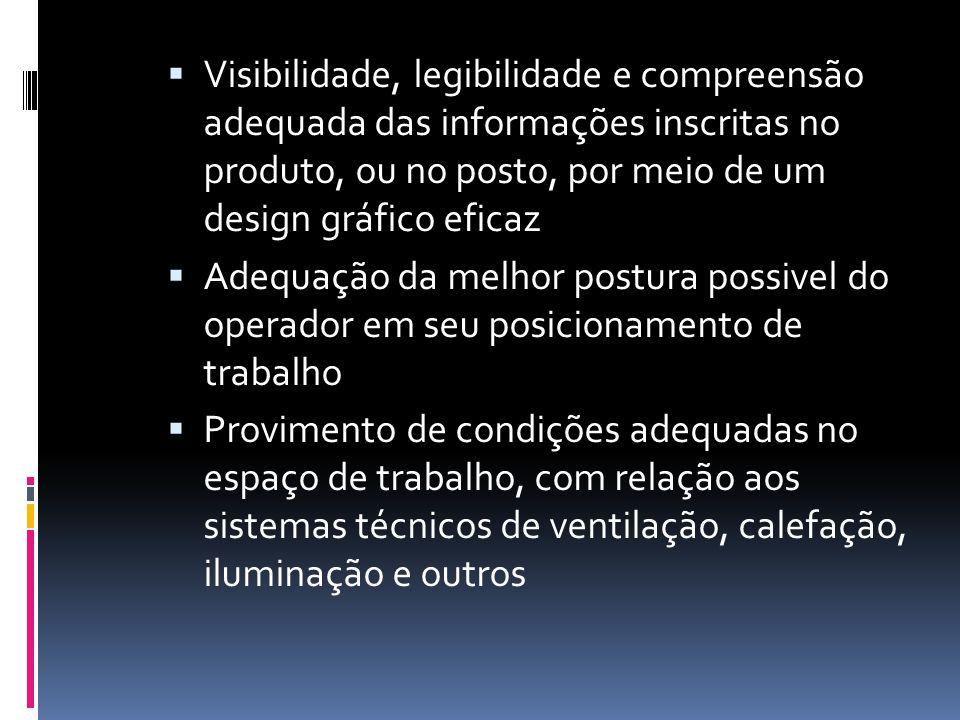  Visibilidade, legibilidade e compreensão adequada das informações inscritas no produto, ou no posto, por meio de um design gráfico eficaz  Adequaçã