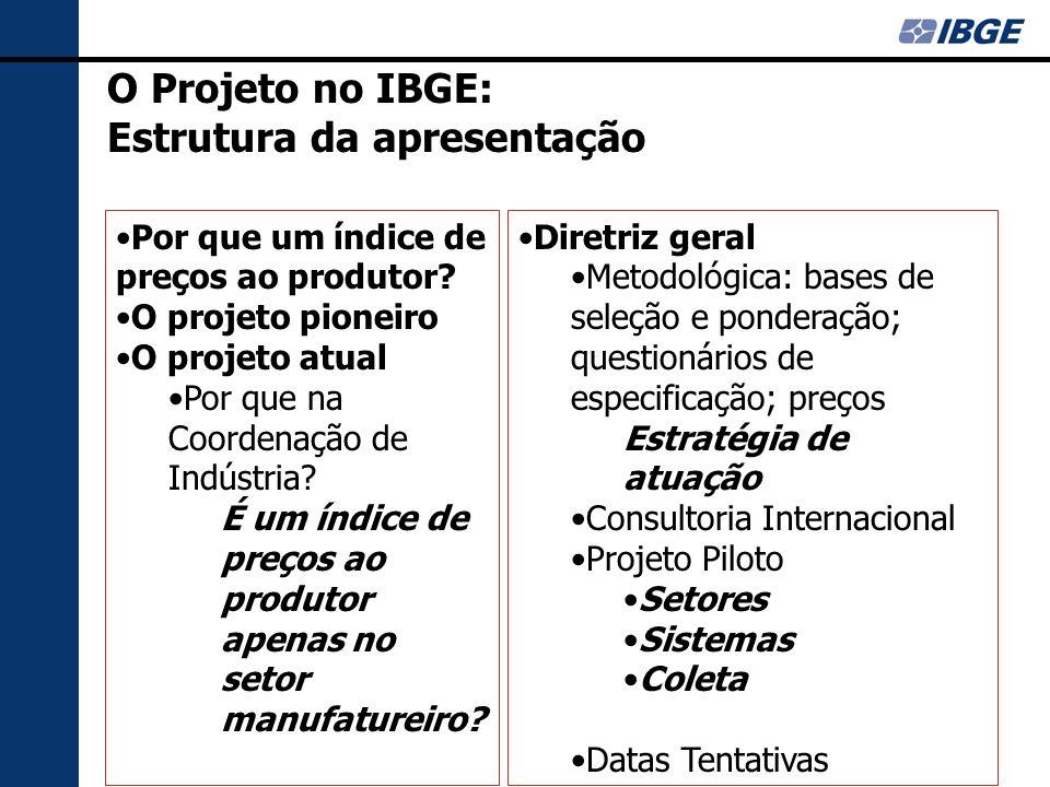 O Projeto no IBGE: Estrutura da apresentação Por que um índice de preços ao produtor.