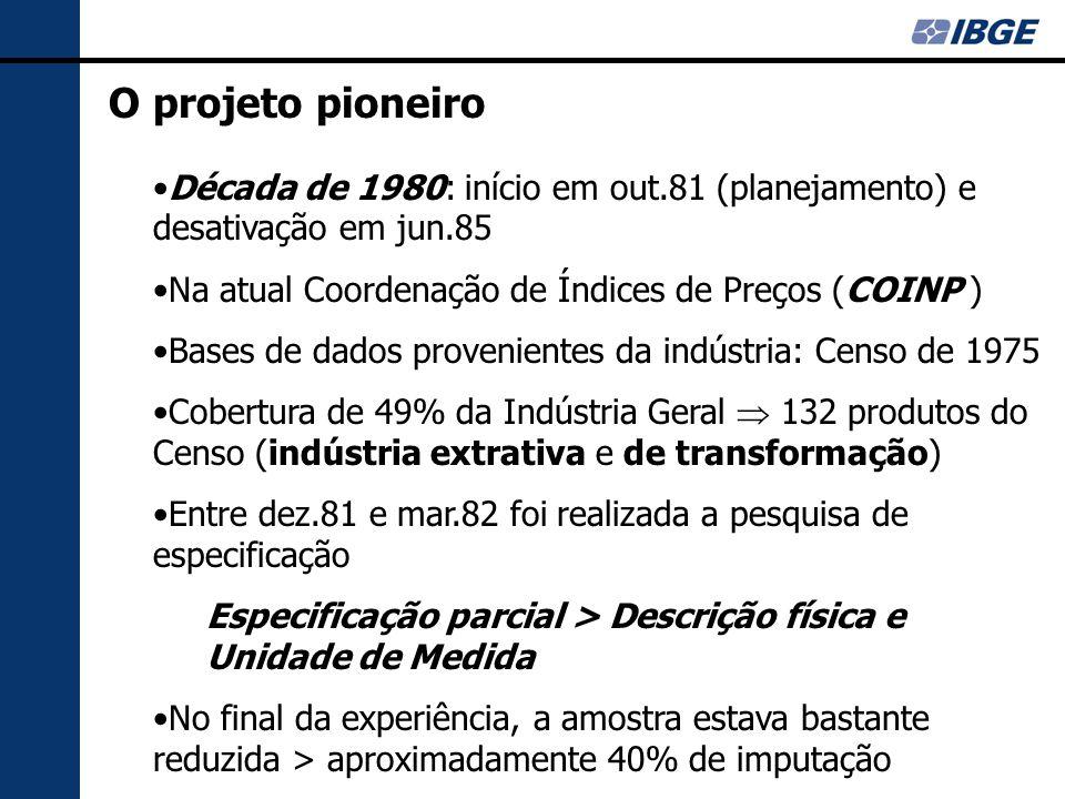 O projeto pioneiro Década de 1980: início em out.81 (planejamento) e desativação em jun.85 Na atual Coordenação de Índices de Preços (COINP ) Bases de dados provenientes da indústria: Censo de 1975 Cobertura de 49% da Indústria Geral  132 produtos do Censo (indústria extrativa e de transformação) Entre dez.81 e mar.82 foi realizada a pesquisa de especificação Especificação parcial > Descrição física e Unidade de Medida No final da experiência, a amostra estava bastante reduzida > aproximadamente 40% de imputação