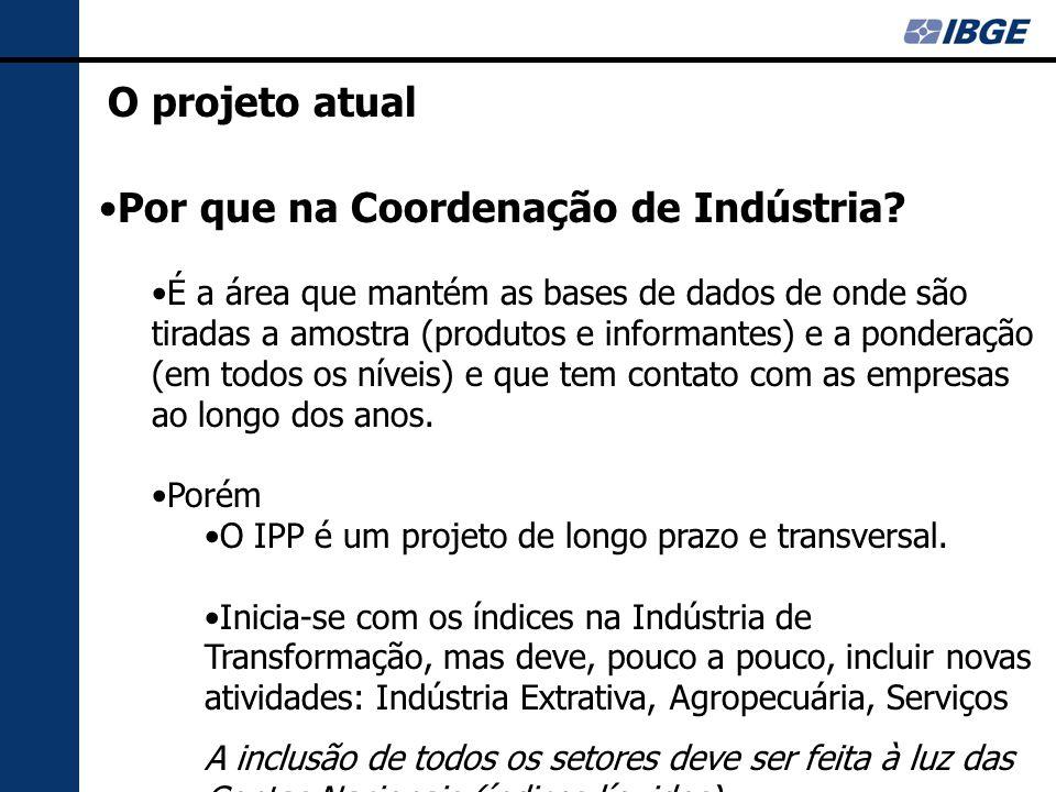 O projeto atual Por que na Coordenação de Indústria.