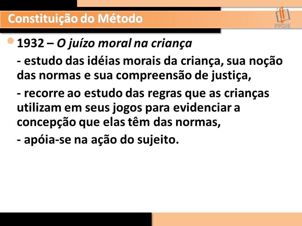 1932 – O juízo moral na criança - estudo das idéias morais da criança, sua noção das normas e sua compreensão de justiça, - recorre ao estudo das regr