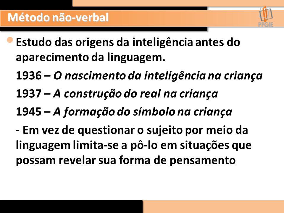 Método não-verbal Estudo das origens da inteligência antes do aparecimento da linguagem. 1936 – O nascimento da inteligência na criança 1937 – A const