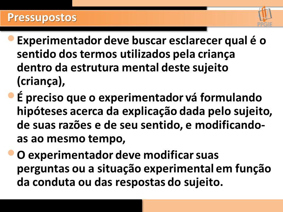 Experimentador deve buscar esclarecer qual é o sentido dos termos utilizados pela criança dentro da estrutura mental deste sujeito (criança), É precis