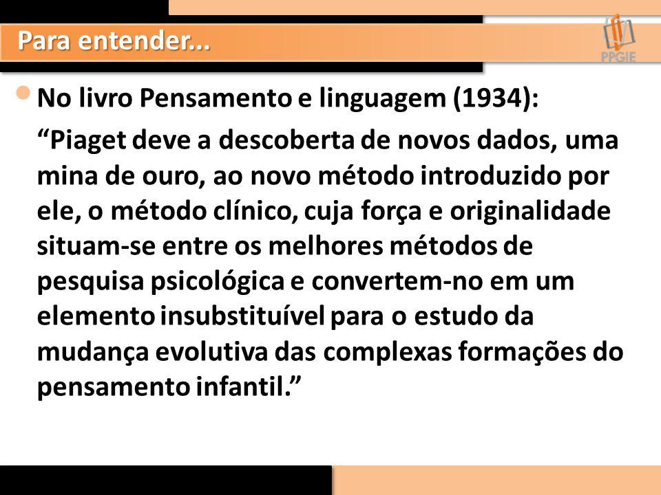 """Para entender... No livro Pensamento e linguagem (1934): """"Piaget deve a descoberta de novos dados, uma mina de ouro, ao novo método introduzido por el"""