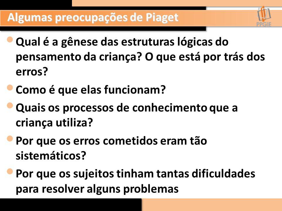 Algumas preocupações de Piaget Qual é a gênese das estruturas lógicas do pensamento da criança? O que está por trás dos erros? Como é que elas funcion