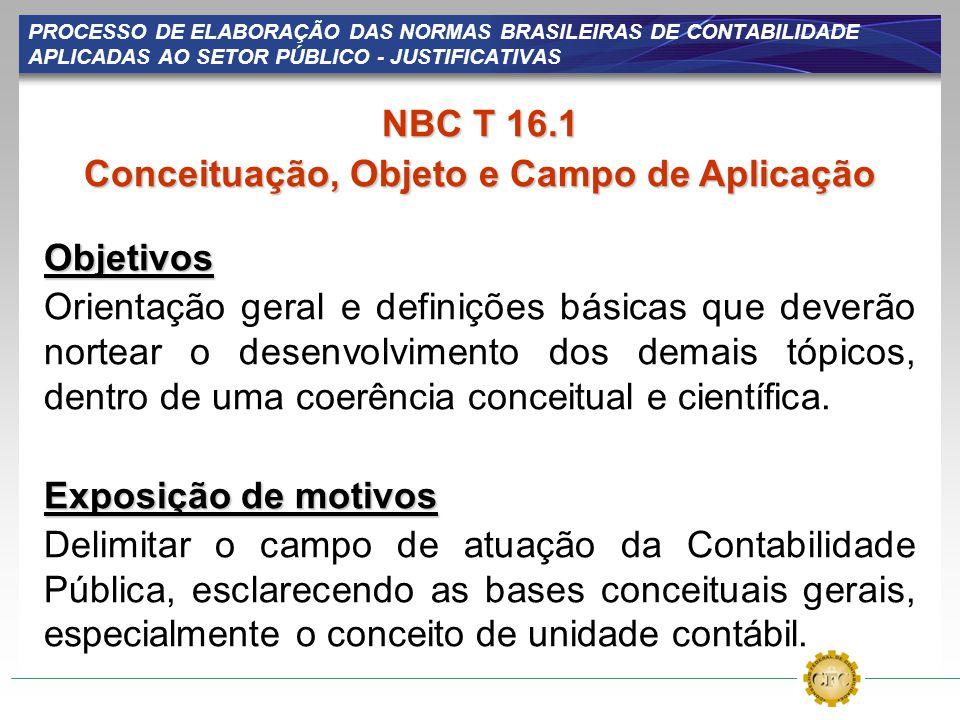 PROCESSO DE ELABORAÇÃO DAS NORMAS BRASILEIRAS DE CONTABILIDADE APLICADAS AO SETOR PÚBLICO - JUSTIFICATIVAS NBC T 16.1 Conceituação, Objeto e Campo de
