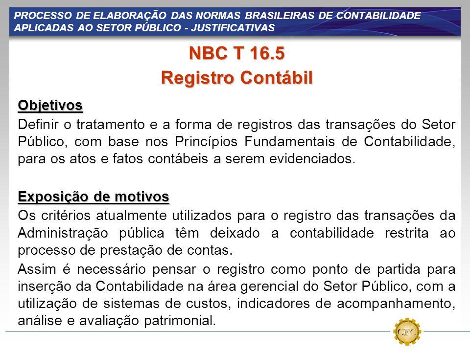 PROCESSO DE ELABORAÇÃO DAS NORMAS BRASILEIRAS DE CONTABILIDADE APLICADAS AO SETOR PÚBLICO - JUSTIFICATIVAS NBC T 16.5 Registro Contábil Objetivos Defi