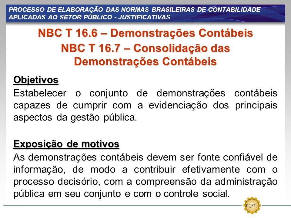 PROCESSO DE ELABORAÇÃO DAS NORMAS BRASILEIRAS DE CONTABILIDADE APLICADAS AO SETOR PÚBLICO - JUSTIFICATIVAS NBC T 16.6 – Demonstrações Contábeis NBC T