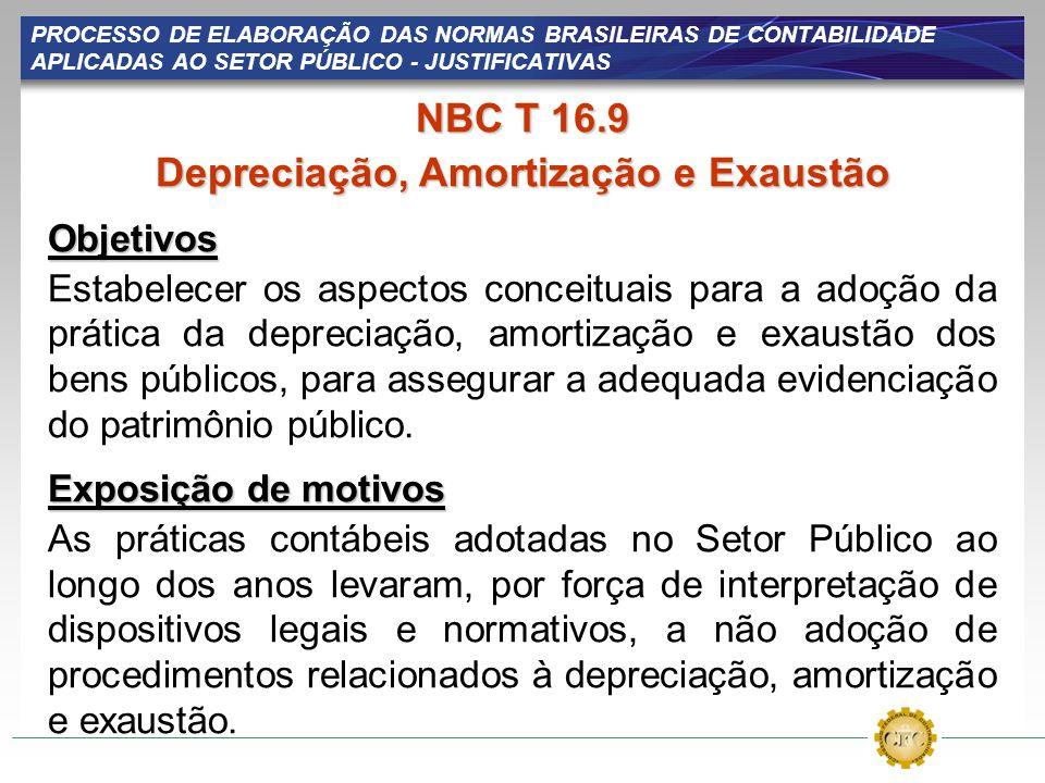 PROCESSO DE ELABORAÇÃO DAS NORMAS BRASILEIRAS DE CONTABILIDADE APLICADAS AO SETOR PÚBLICO - JUSTIFICATIVAS NBC T 16.9 Depreciação, Amortização e Exaus