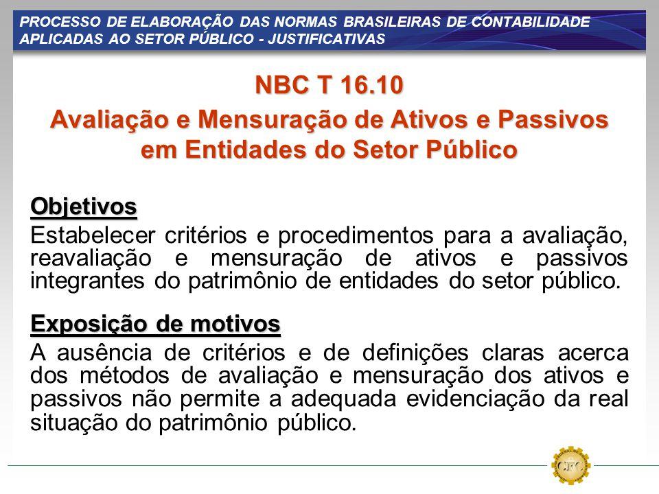 PROCESSO DE ELABORAÇÃO DAS NORMAS BRASILEIRAS DE CONTABILIDADE APLICADAS AO SETOR PÚBLICO - JUSTIFICATIVAS NBC T 16.10 Avaliação e Mensuração de Ativo