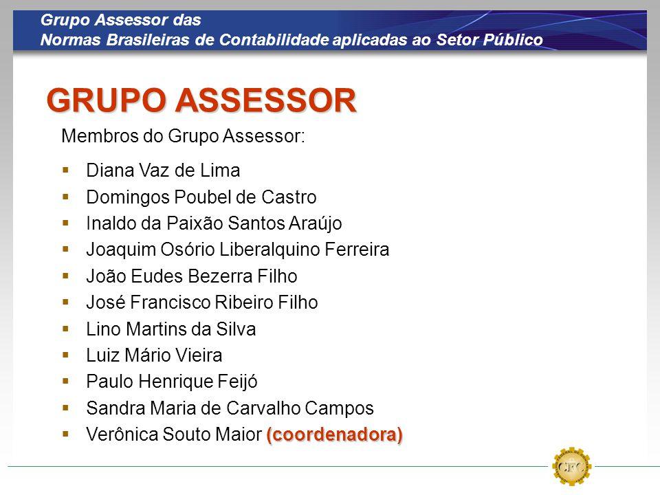 Grupo Assessor das Normas Brasileiras de Contabilidade aplicadas ao Setor Público GRUPO ASSESSOR Membros do Grupo Assessor:  Diana Vaz de Lima  Domi