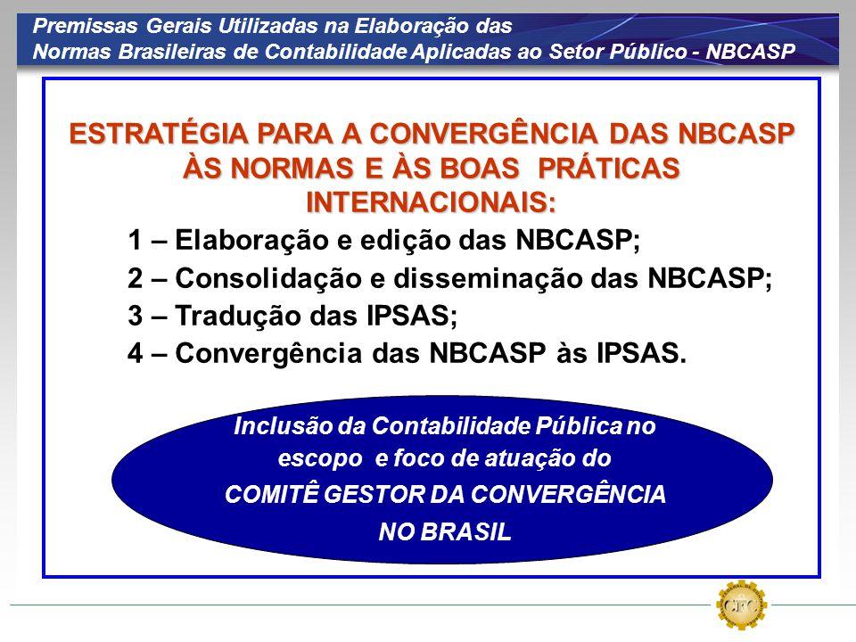 ESTRATÉGIA PARA A CONVERGÊNCIA DAS NBCASP ÀS NORMAS E ÀS BOAS PRÁTICAS INTERNACIONAIS: 1 – Elaboração e edição das NBCASP; 2 – Consolidação e dissemin