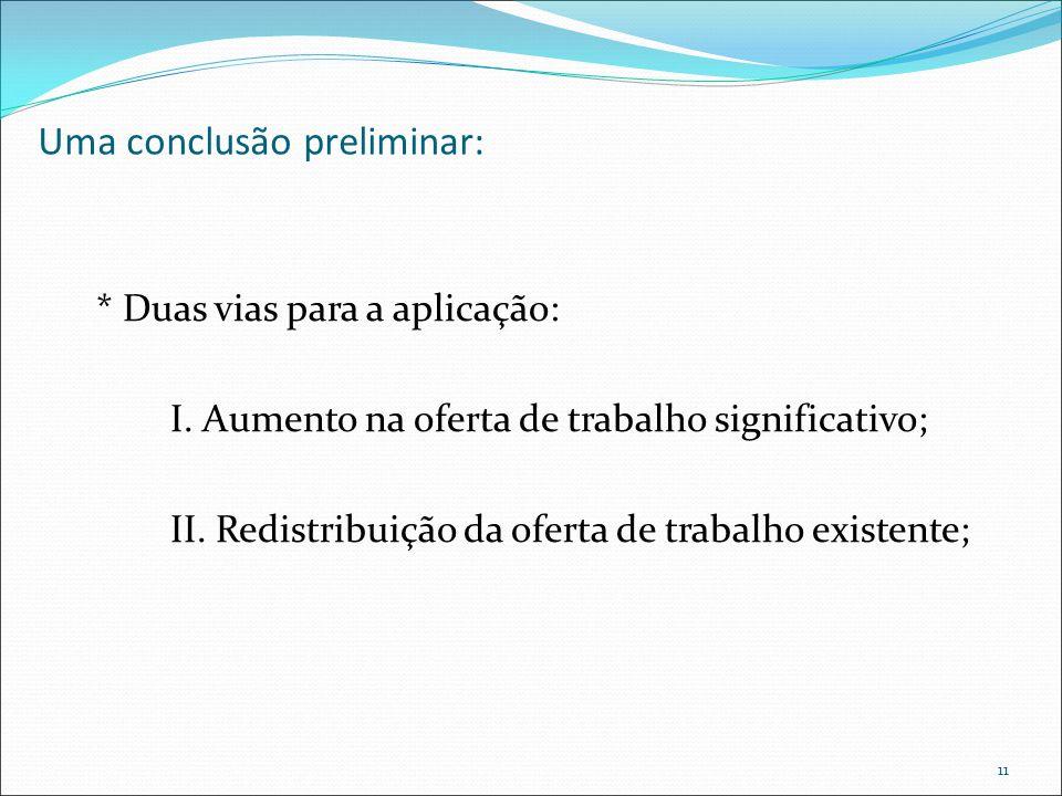 Uma conclusão preliminar: * Duas vias para a aplicação: I. Aumento na oferta de trabalho significativo; II. Redistribuição da oferta de trabalho exist