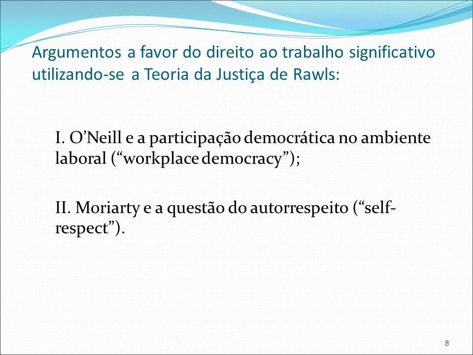 Argumentos a favor do direito ao trabalho significativo utilizando-se a Teoria da Justiça de Rawls: I. O'Neill e a participação democrática no ambient