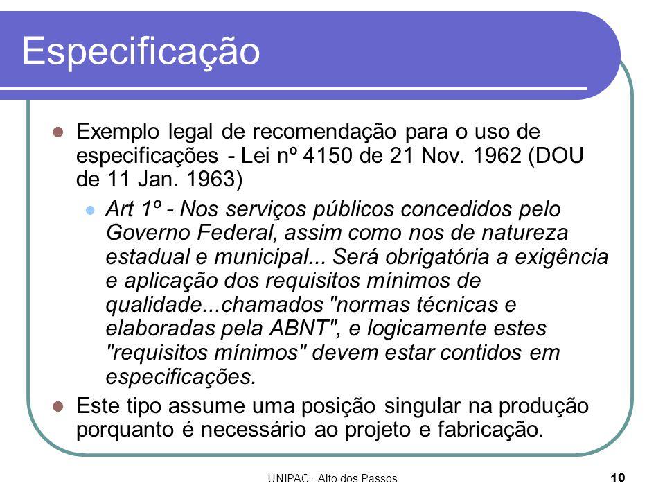 UNIPAC - Alto dos Passos10 Especificação Exemplo legal de recomendação para o uso de especificações - Lei nº 4150 de 21 Nov.