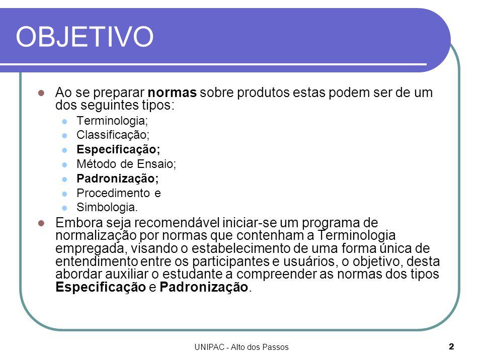 UNIPAC - Alto dos Passos2 OBJETIVO Ao se preparar normas sobre produtos estas podem ser de um dos seguintes tipos: Terminologia; Classificação; Especificação; Método de Ensaio; Padronização; Procedimento e Simbologia.