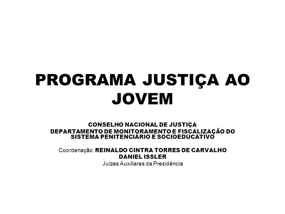 PROGRAMA JUSTIÇA AO JOVEM CONSELHO NACIONAL DE JUSTIÇA DEPARTAMENTO DE MONITORAMENTO E FISCALIZAÇÃO DO SISTEMA PENITENCIÁRIO E SOCIOEDUCATIVO Coordena